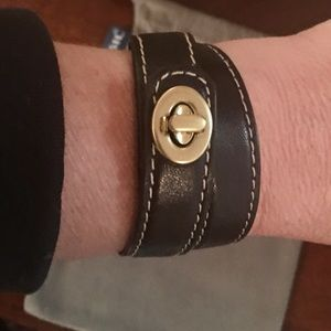 Coach Dark Brown Leather Gold Lock Bracelet, NWOT